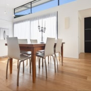 Prefinished wood floors from Forte Flooring avoid the chair, dining room, floor, flooring, furniture, hardwood, interior design, laminate flooring, loft, property, real estate, room, table, wall, wood, wood flooring, white