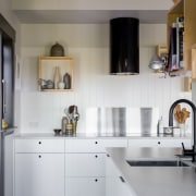 In this Yellowfox project, most appliances and a cabinetry, countertop, cuisine classique, interior design, kitchen, room, gray