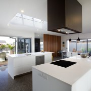 A large kitchen with two islands, by Rowson apartment, architecture, house, interior design, kitchen, real estate, gray