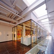 The glass box annex in the Spark Architects architecture, ceiling, daylighting, interior design, lobby, real estate, tourist attraction, gray