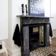The use of mirrors in this bathroom renovation fireplace, floor, flooring, furniture, hearth, interior design, living room, table, white
