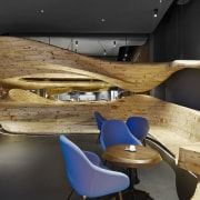 The centrepiece of Raw restaurant in Taipei is architecture, furniture, interior design, product design, table, wood, black