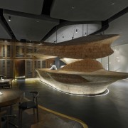 Raw restaurant in Taipei features bold sculptural elements architecture, ceiling, interior design, tourist attraction, black