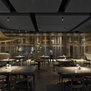 In Raw restaurant in Taipei each table has ceiling, interior design, restaurant, black