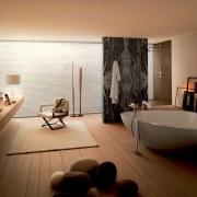 Simple yet sculptural  this new bathroom features bathroom, floor, flooring, interior design, room, brown