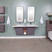 Libera vanities from Lacava are teamed with Zoom bathroom, bathroom accessory, bathroom cabinet, floor, flooring, hardwood, interior design, plumbing fixture, product, product design, purple, room, sink, tile, gray