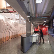 Achieving good recycling practices in the workplace is architecture, interior design, metro station, public transport, gray