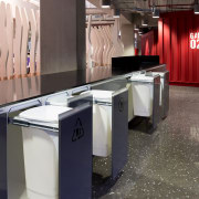 Achieving good recycling practices in the workplace is countertop, floor, flooring, furniture, interior design, kitchen, product design, table, black, gray