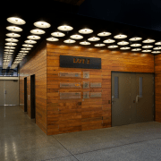 The lobby entry to Lot 3, completed by architecture, ceiling, interior design, lobby, wood, brown, black