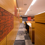 The Ministry of Justice Specialist Courts in Auckland architecture, ceiling, daylighting, floor, flooring, hardwood, interior design, lobby, wall, wood, brown, orange