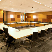 The Ministry of Justice Specialist Courts in Auckland,remodelled conference hall, flooring, function hall, interior design, table, orange, brown