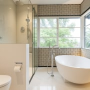 This new bathroom, designed by Nicholas Murray Architects, architecture, bathroom, home, house, interior design, product design, property, real estate, room, window, gray, orange
