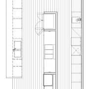 In this new kitchen, there is a long angle, area, black and white, design, drawing, elevation, floor plan, furniture, line, line art, plan, product design, structure, technical drawing, white