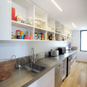 Stainless steel creates a durable benchtop for this cabinetry, countertop, interior design, kitchen, gray