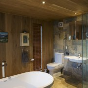 In this bathroom, American oak is teamed with architecture, bathroom, ceiling, estate, floor, home, house, interior design, real estate, room, wood, brown