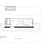 Upper level of studio on Port Hills above angle, area, black and white, design, diagram, font, line, paper, plan, product, product design, text, white