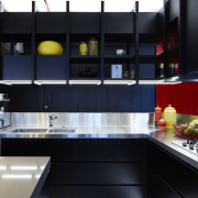 Black powdercoated aluminium ribs support dark veneer shelves countertop, interior design, kitchen, room, black