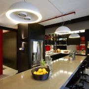 Black powdercoated aluminium ribs support dark veneer shelves countertop, interior design, kitchen, black