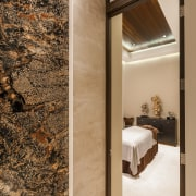 Contrasting textures and natural materials feature throughout this ceiling, floor, flooring, interior design, wall, wood, orange, brown