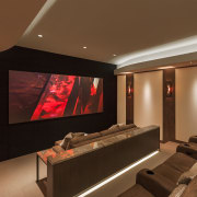 This mountain home designed by architect Charles R ceiling, interior design, lobby, room, brown
