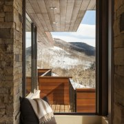 There is an intimate feel to this mountain architecture, ceiling, home, house, interior design, wall, window, wood, brown