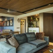 A more generous entry to this remodelled 1970s ceiling, home, interior design, living room, real estate, room, brown