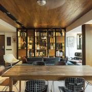Teak veneer wraps the structural columns in this ceiling, dining room, estate, interior design, living room, property, real estate, brown, orange