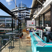 The Crew Club on the Auckland waterfront features building, mixed use, black