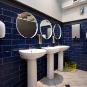 The blue and yellow decor of The Crew architecture, bathroom, floor, interior design, public toilet, room, tile, wall, gray, blue