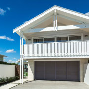 Traditional exterior on Devonport weatherboard house renovation with balcony, building, elevation, estate, facade, home, house, property, real estate, residential area, roof, blue, gray