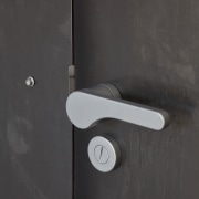 This Chant handle is available in two finishes, angle, door handle, hardware accessory, hinge, lighting, lock, product design, black