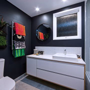The walls in this bathroom by Rebecca Banks bathroom, home, interior design, room, gray, black