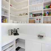 Pantry with white lacquered cabinets and Infinity solid cabinetry, countertop, interior design, kitchen, room, shelf, shelving, gray, white