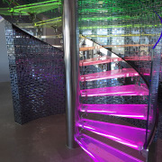 Clear glass spiral balustrade by Glasshape - Clear architecture, glass, light, lighting, purple, structure, black