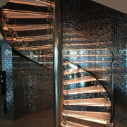 Clear glass spiral balustrade by Glasshape - Clear glass, handrail, stairs, black