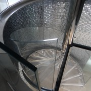 Clear glass spiral balustrade by Glasshape - Clear automotive tire, automotive wheel system, furniture, glass, product, spoke, structure, tire, wheel, gray, black