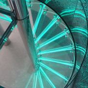 Clear glass spiral balustrade by Glasshape - Clear green, light, structure, teal, gray