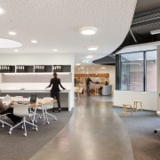 The mobius circulation pathway through the Brookfield Multiplex ceiling, floor, furniture, institution, interior design, office, product design, gray