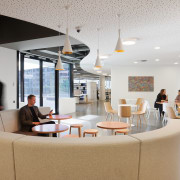 Communal hub at Brookfield Multiplex in Melbourne, designed interior design, office, gray
