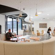 Communal hub at Brookfield Multiplex in Melbourne, designed interior design, office, gray
