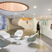From the reception desk to the ceiling, seating architecture, ceiling, furniture, interior design, lobby, office, product design, waiting room, gray