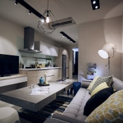 Nothing has been overlooked in the design of ceiling, home, interior design, living room, room, gray, black