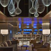 This contemporary lobby bar by Interior designers DiLeonardo ceiling, chandelier, interior design, lighting, lobby, black, brown