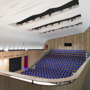 There's seating for 300 in the centre of architecture, auditorium, ceiling, daylighting, interior design, performing arts center, white
