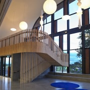 The orientation of The Blyth Performing Arts Centre architecture, daylighting, interior design, lobby, stairs