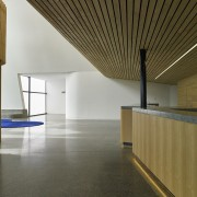 Stevens Lawson Architects specified a simple palette of architecture, ceiling, daylighting, floor, flooring, house, interior design, lobby, real estate, wood, brown, gray