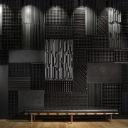 Blackened, textural steel panels reinforce the raw, industrial architecture, darkness, design, black