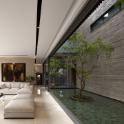 The living area on the ground floor of architecture, courtyard, daylighting, estate, home, house, interior design, real estate, gray