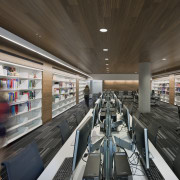 :The second-floor learning commons at this education facility institution, interior design, brown, gray