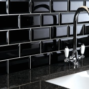 These sleek black tiles from Tile Trends create black, black and white, design, floor, flooring, furniture, glass, interior design, product design, tile, wall, black